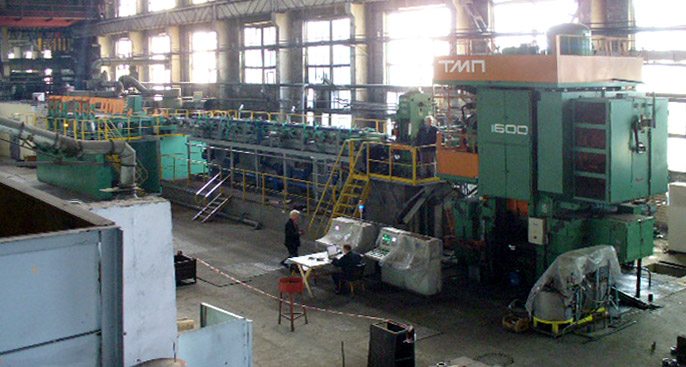 Mounting of an automatic line on the basis of a 1600tf capacity hot forging press for production of ring forgings...